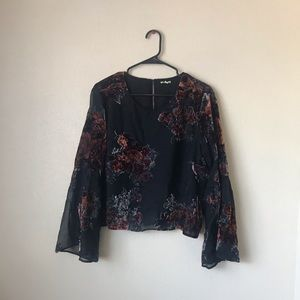 Gianni Bini Women's XL black floral top